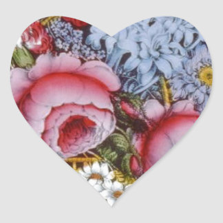 Original vintage design of a flower basket heart sticker