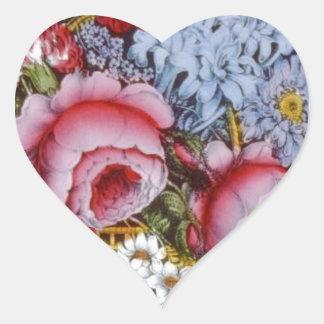 Original vintage design of a flower basket heart sticker
