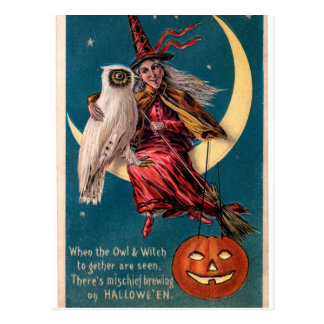 Original vintage Halloween card with witch!