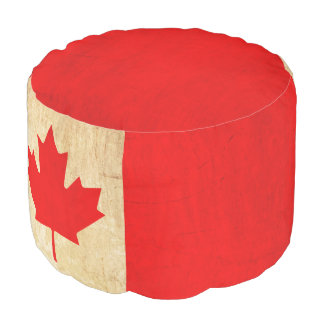 Original Vintage Patriotic National Flag of CANADA Pouf