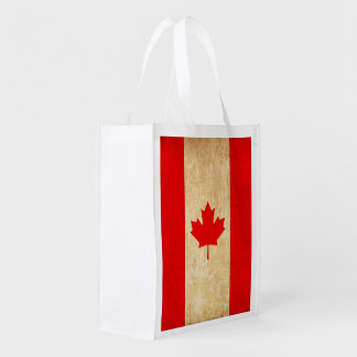 Original Vintage Patriotic National Flag of CANADA Reusable Grocery Bag