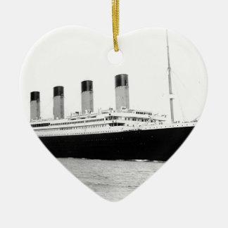Original vintage photo of Titanic Ceramic Heart Ornament
