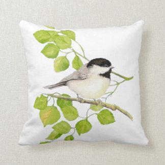 Original Watercolor Black Capped Chickadee Bird Throw Pillow