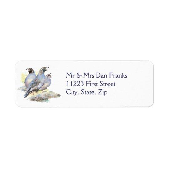 Original Watercolor California Quail Bird
