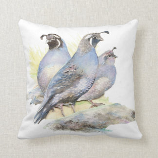 Original Watercolor California Quail Bird Throw Pillow