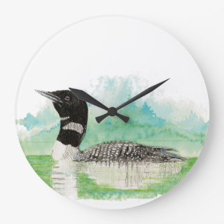 Original Watercolor Common Loon Bird Large Clock