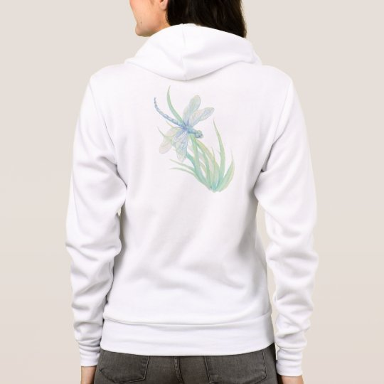 Original Watercolor Dragonfly in Blue, Green Aqua Hoodie