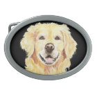 Original Watercolor Golden Retriever, Dog Pet Belt Buckle