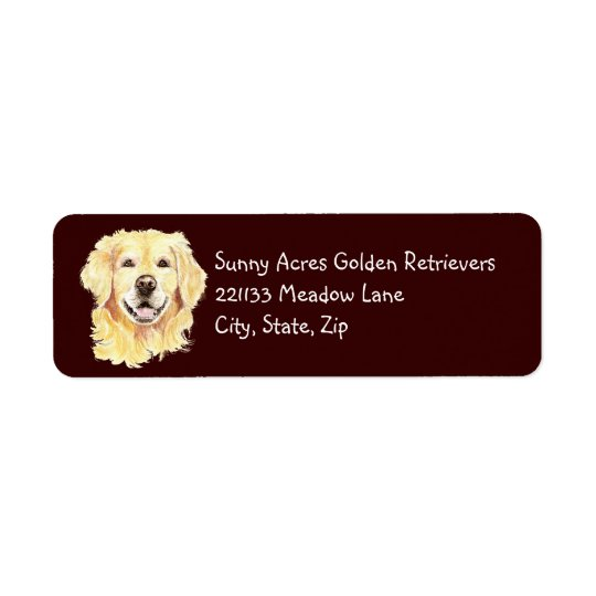 Original Watercolor Golden Retriever, Dog Pet Return Address Label