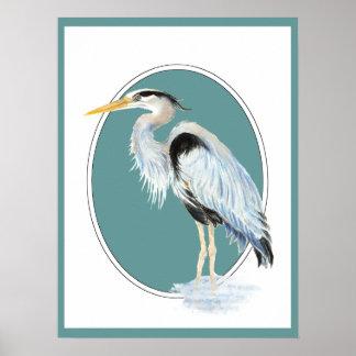 Original Watercolor Great Blue Heron Bird Poster