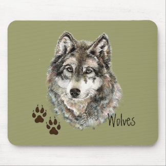 Original Watercolor Grey  Wolf- Tracks Animal Mouse Pad
