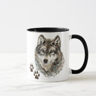Original Watercolor Grey  Wolf- Tracks Animal Mug