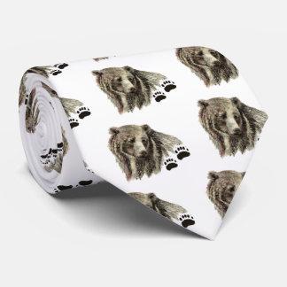 Original Watercolor Grizzly Bear Animal Nature Tie