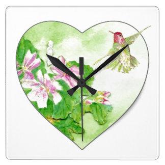 Original Watercolor Rufous Hummingbird Bird Clocks