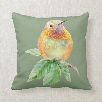 Original Watercolor Rufous Hummingbird Bird Throw Pillow