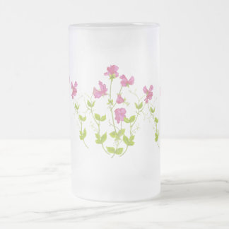 Original Watercolor Sweet Pea, Garden Flower Frosted Glass Beer Mug