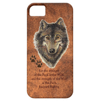 Original Watercolor Wolf, Tracks Family Strength iPhone 5 Cases