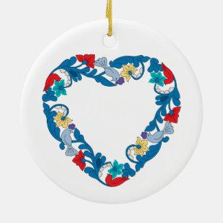 Original Wedding love birds in the flowers heart Ceramic Ornament