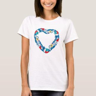 Original Wedding love birds in the flowers heart T-Shirt