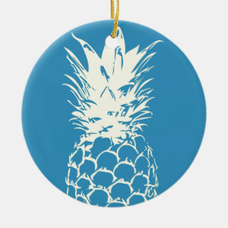 Original Yellow Pineapple blue Design Round Ceramic Ornament