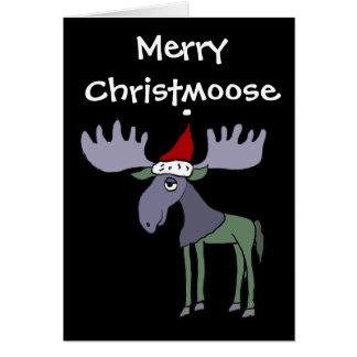 Orignaux drôles dans le chapeau de Père Noël Carte De Vœux