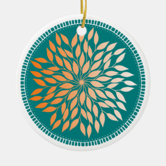 Oriole Orange Gradient Leafy Mandala on Teal Ceramic Ornament
