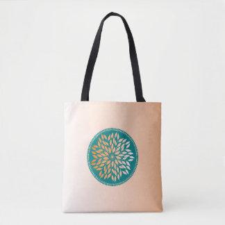 Oriole Orange Leafy Mandala on Teal Tote Bag