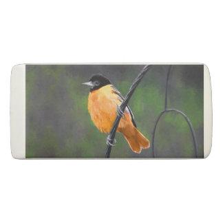 Oriole Painting - Original Bird Art Eraser