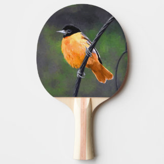 Oriole Painting - Original Bird Art Ping Pong Paddle