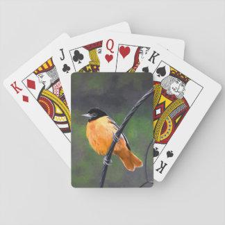 Oriole Painting - Original Bird Art Playing Cards