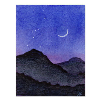 Orion & Crescent Moon Mountains Poster
