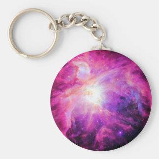 Orion Nebula Pink Purple Galaxy Basic Round Button Keychain