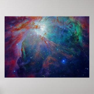 Orion Nebula shimmering blue NASA Poster