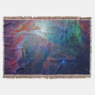 Orion Nebula shimmering blue NASA Throw Blanket