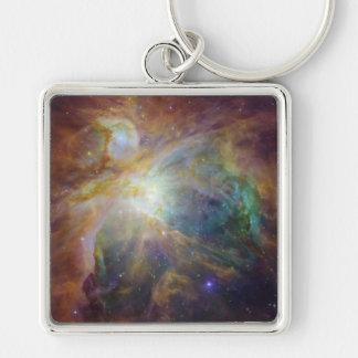 Orion Nebula Silver-Colored Square Keychain
