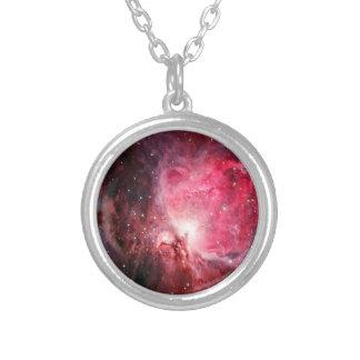 Orion nebula silver plated necklace