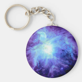 Orion Nebula Turquoise Periwinkle Lavender Galaxy Basic Round Button Keychain