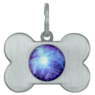 Orion Nebula Turquoise Periwinkle Lavender Galaxy Pet Tag