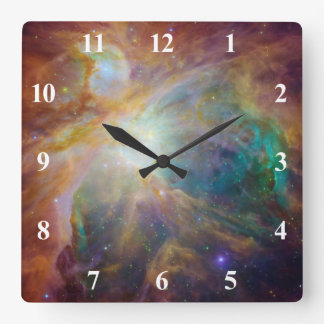 Orion Nebula with White Numbers Square Wall Clock