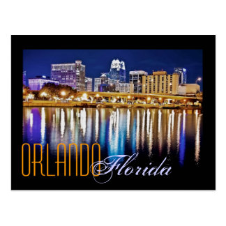 Orlando, Florida at night from Lake Lucerne. Postcard