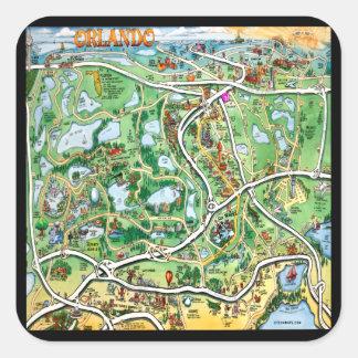 Orlando Florida Cartoon Map Square Sticker