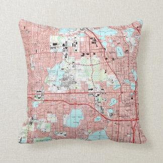 Orlando Florida Map (1995) Throw Pillow