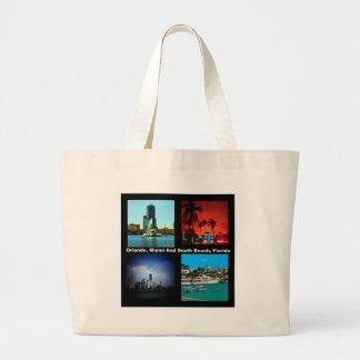 Orlando, Miami, South Beach Collage Large Tote Bag