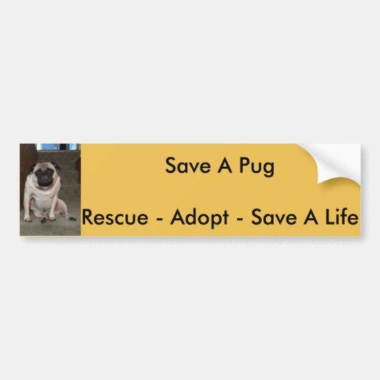 """Orlando """"Save A Pug"""" Bumper Sticker"""