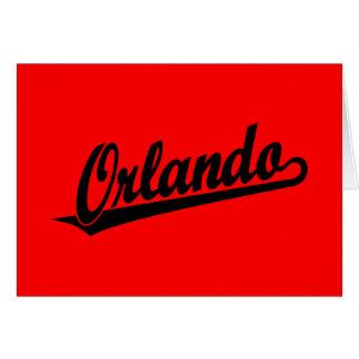 Orlando script logo in black card