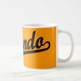 Orlando script logo in black distressed coffee mug