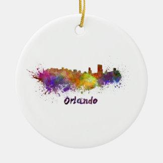 Orlando skyline in watercolor ceramic ornament