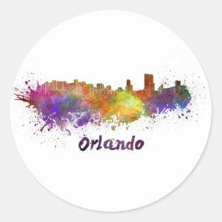 Orlando skyline in watercolor classic round sticker
