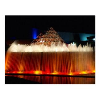 Orlando Theme Park Fountain lit up at night Postcard