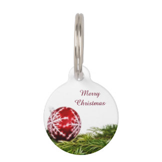 Ornament and Fir Fractal - Merry Christmas Pet Tag